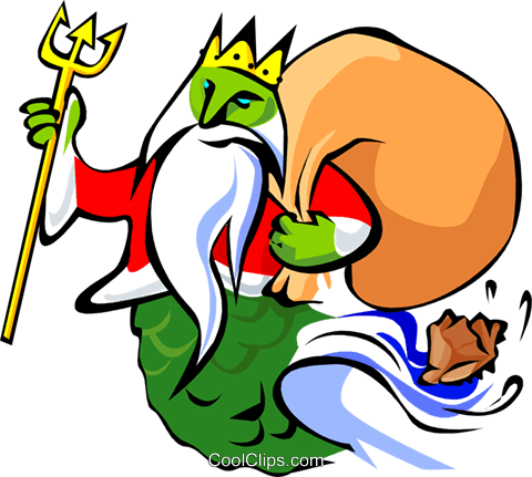 Gift bearing King Neptune Royalty Free Vector Clip Art illustration spec0095
