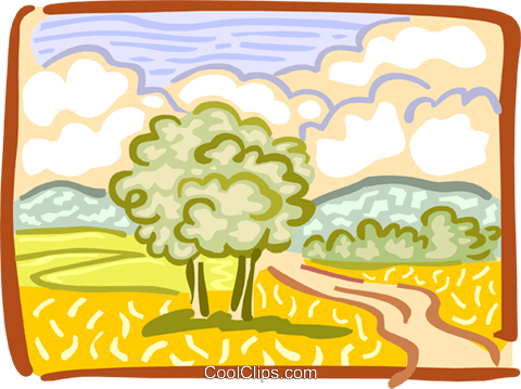 Country landscape Royalty Free Vector Clip Art illustration spec0116