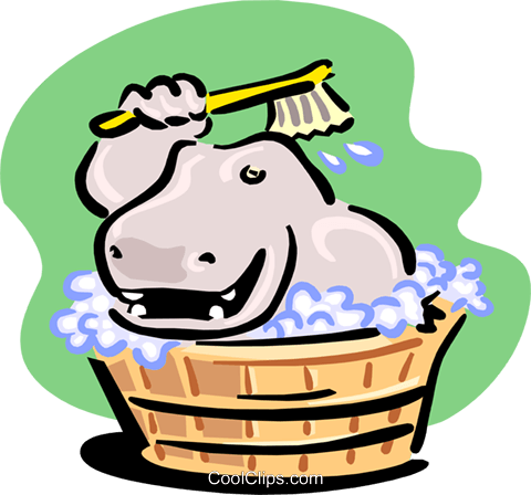 hippo having a bath Royalty Free Vector Clip Art illustration spec0117