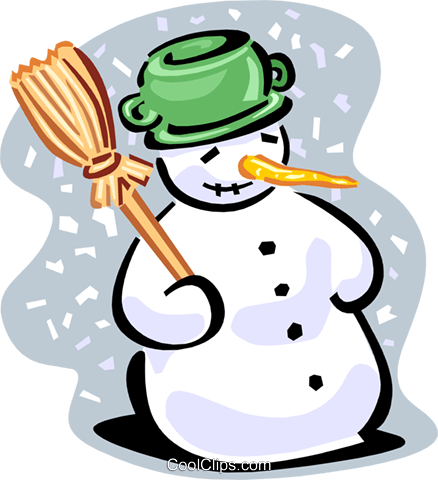 Snowman with broom Royalty Free Vector Clip Art illustration spec0118