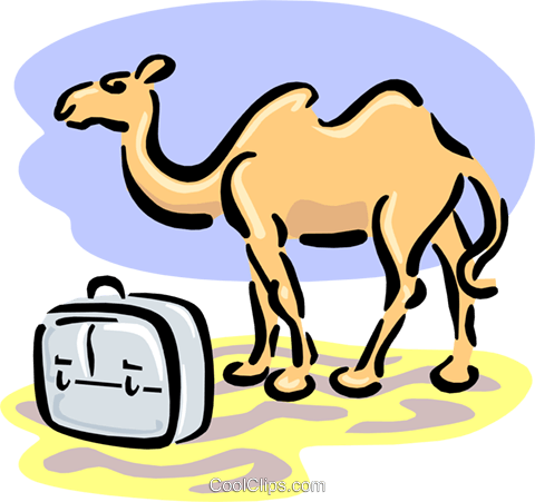 travel/camel and suitcase Royalty Free Vector Clip Art illustration spec0119