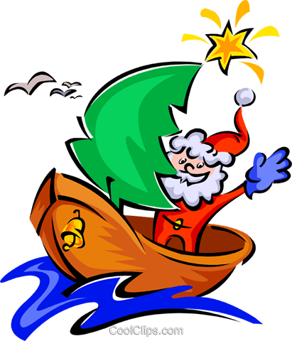 travel/Santa sailing Royalty Free Vector Clip Art illustration spec0126