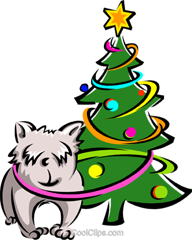 dog and Christmas tree Royalty Free Vector Clip Art illustration spec0136