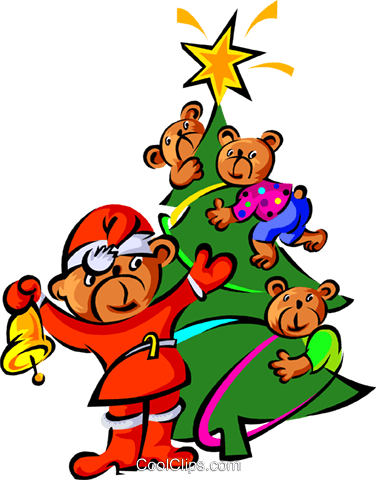 teddy bears and Christmas tree Royalty Free Vector Clip Art illustration spec0137
