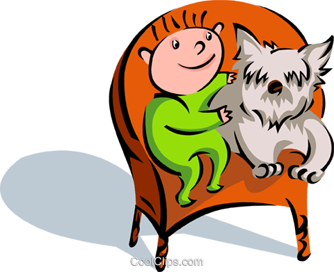 child with pet dog on chair Royalty Free Vector Clip Art illustration spec0144