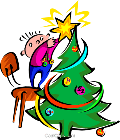 placing the star on Christmas tree Royalty Free Vector Clip Art illustration spec0145