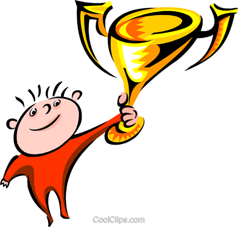 person holding a trophy cup Royalty Free Vector Clip Art illustration spec0146