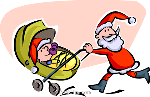 Santa pushing carriage Royalty Free Vector Clip Art illustration spec0157