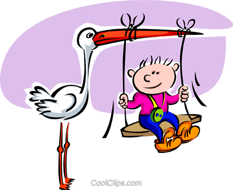 Stork with baby swinging from beak Royalty Free Vector Clip Art illustration spec0158