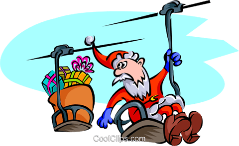 Christmas/Santa on chairlift Royalty Free Vector Clip Art illustration spec0159