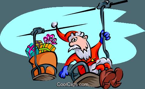 Weihnachten Santa Auf Sessellift Vektor Clipart Bild Spec0159