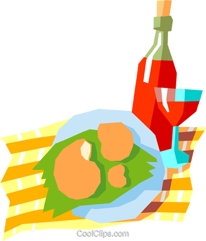wine and shrimp Royalty Free Vector Clip Art illustration spec0173