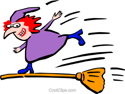 Halloween/witch on a broom Royalty Free Vector Clip Art illustration spec0178