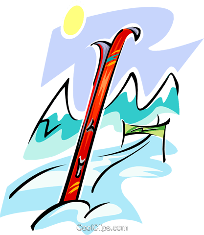 skis and course Royalty Free Vector Clip Art illustration spor0292