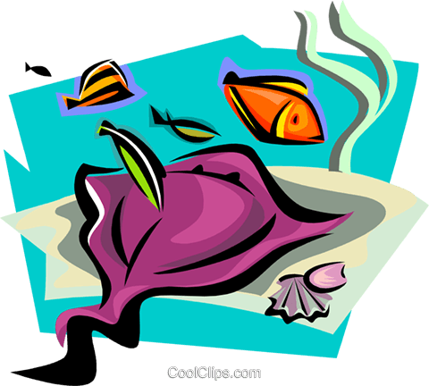 aquatic design with manta ray Royalty Free Vector Clip Art illustration anim1724