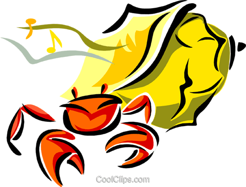 aquatic design with crab Royalty Free Vector Clip Art illustration anim1728