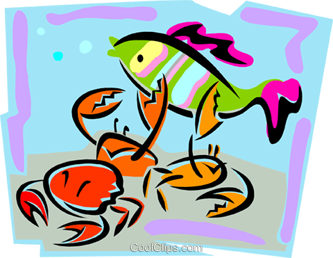 aquatic design with fish and crabs Royalty Free Vector Clip Art illustration anim1731