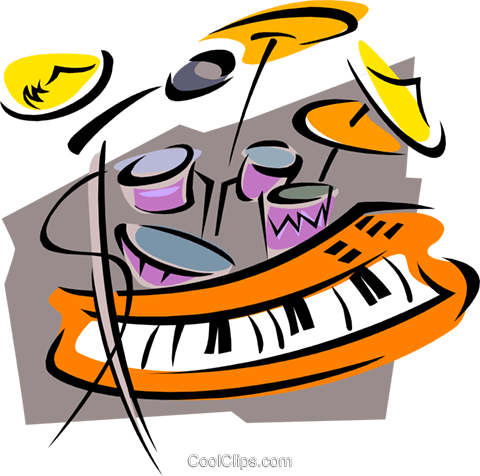 keyboards with drums Royalty Free Vector Clip Art illustration ente0036