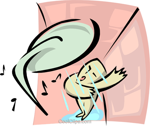 singing in the shower Royalty Free Vector Clip Art illustration ente0046