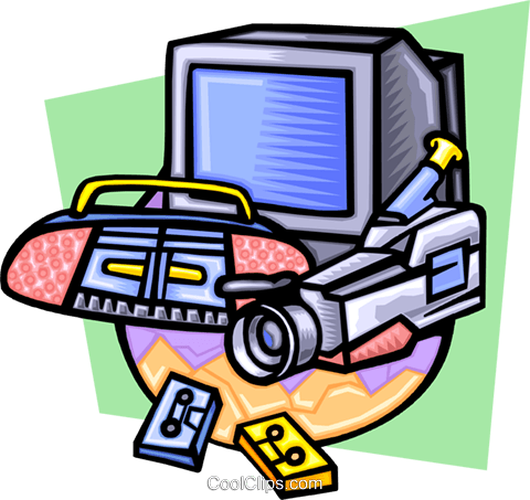 Video and stereo equipment Royalty Free Vector Clip Art illustration hous1227