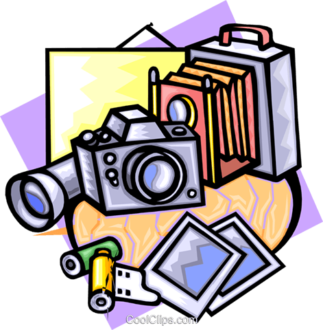 camera studio equipment Royalty Free Vector Clip Art illustration hous1228
