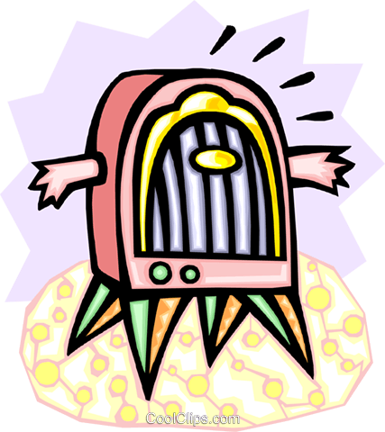 old-fashioned radio with arms Royalty Free Vector Clip Art illustration hous1229