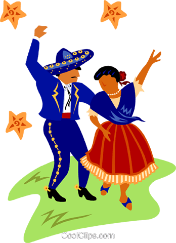 Mexican dancers Royalty Free Vector Clip Art illustration peop2610