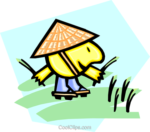 Chinese rice picker Royalty Free Vector Clip Art illustration peop2611