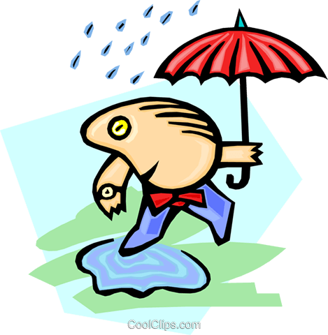 umbrella man walking through puddle Royalty Free Vector Clip Art illustration peop2613