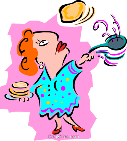 woman flipping pancakes - cartoon Royalty Free Vector Clip Art illustration peop2629