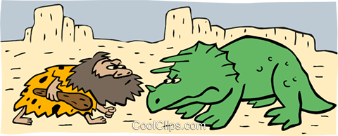 Cartoon dinosaur and caveman Royalty Free Vector Clip Art illustration spec0189