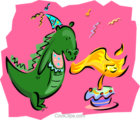 birthday/dinosaur blowing out candles Royalty Free Vector Clip Art illustration spec0199