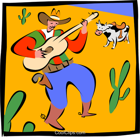 cowboy playing guitar Royalty Free Vector Clip Art illustration spec0215