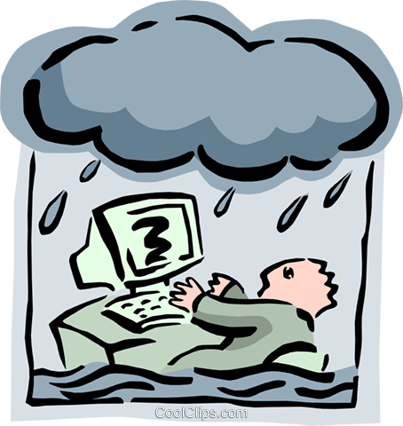 office worker in a storm Royalty Free Vector Clip Art illustration busi1470