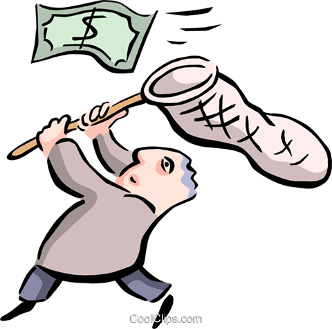 office worker chasing dollars Royalty Free Vector Clip Art illustration busi1475