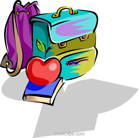school knapsack with apple and books Royalty Free Vector Clip Art illustration hous1233