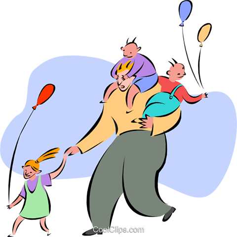 Dad with kids at amusement park Royalty Free Vector Clip Art illustration peop2645