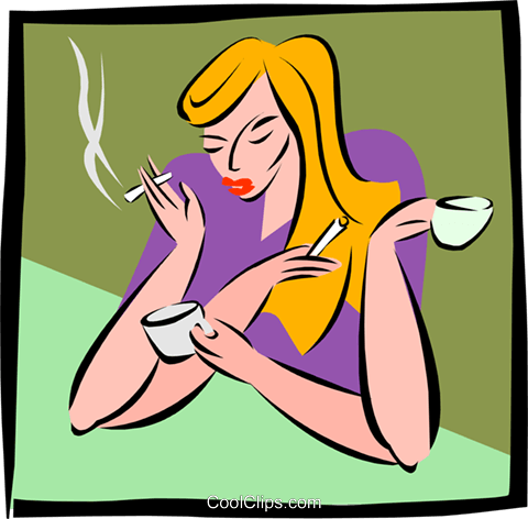 many hands smoking and drinking coffee Royalty Free Vector Clip Art illustration peop2668