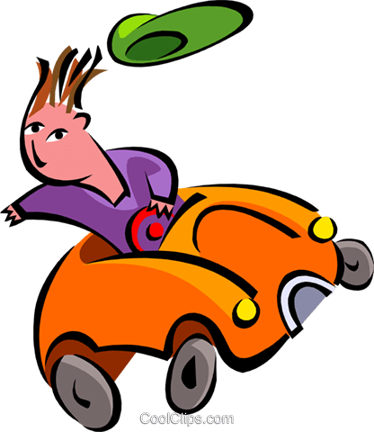 car driver losing hat Royalty Free Vector Clip Art illustration peop2681