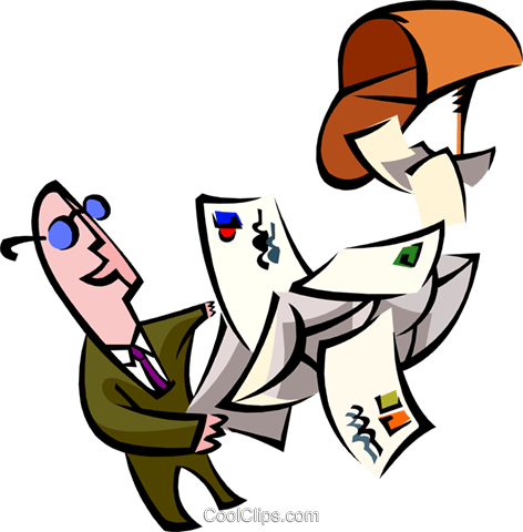 man with mail Royalty Free Vector Clip Art illustration peop2685