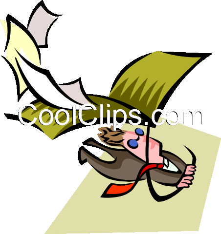 man flying an envelope kite Royalty Free Vector Clip Art illustration peop2687