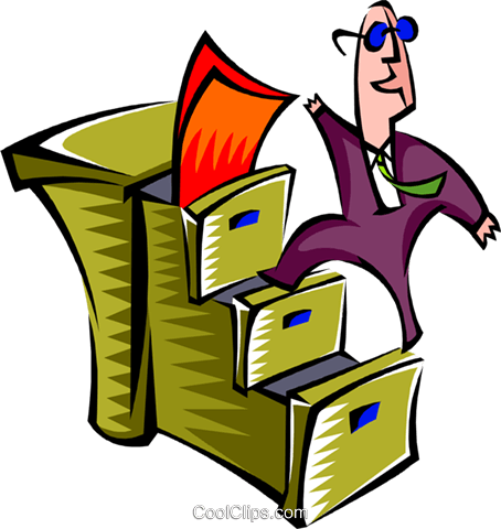climbing filing cabinet staircase Royalty Free Vector Clip Art illustration peop2692