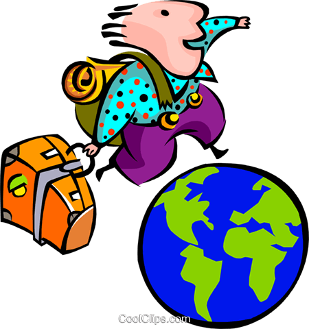 globe traveler Royalty Free Vector Clip Art illustration peop2694