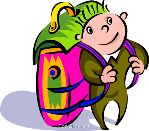 traveler with backpack Royalty Free Vector Clip Art illustration peop2696