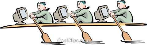 computer rowing team Royalty Free Vector Clip Art illustration peop2702