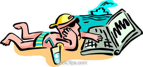 high tech at the beach Royalty Free Vector Clip Art illustration peop2710