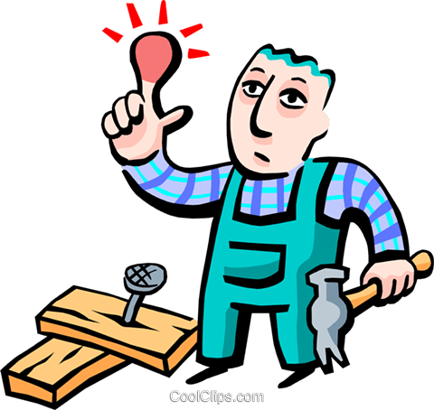 hitting thumb with hammer Royalty Free Vector Clip Art illustration peop2719