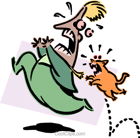 cat chasing person Royalty Free Vector Clip Art illustration peop2725