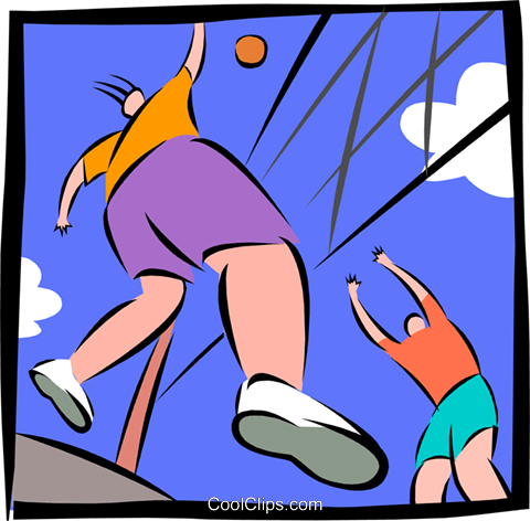 People playing volleyball Royalty Free Vector Clip Art illustration spor0313