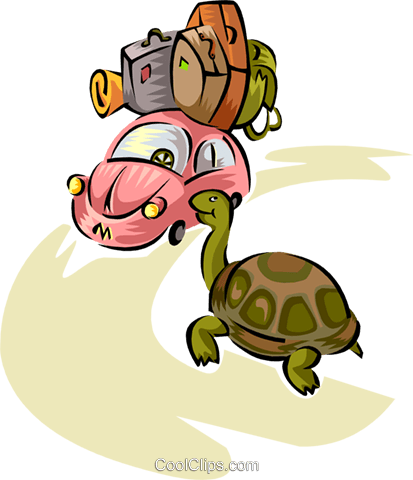 the tortoise and the Volkswagen Royalty Free Vector Clip Art illustration trav0055